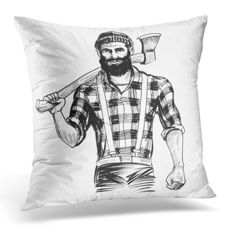ARHOME Sketch Strong Lumberjack Character Holding Axe Black and White Ink Badge Pillow Case Pillow Cover 18x18