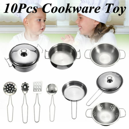 10pcs Stainless steel Cookware Kitchen Cooking Set Pots & Pans Toy For Children Play House Toys, Simulation Kitchen - Kids Pots Pans