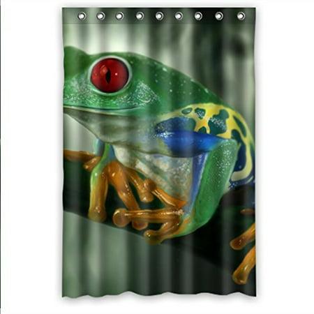 Ganma Cartoon Style Forest Lawn Cute Frog Shower Curtain Polyester Fabric Bathroom 60x72 Inches