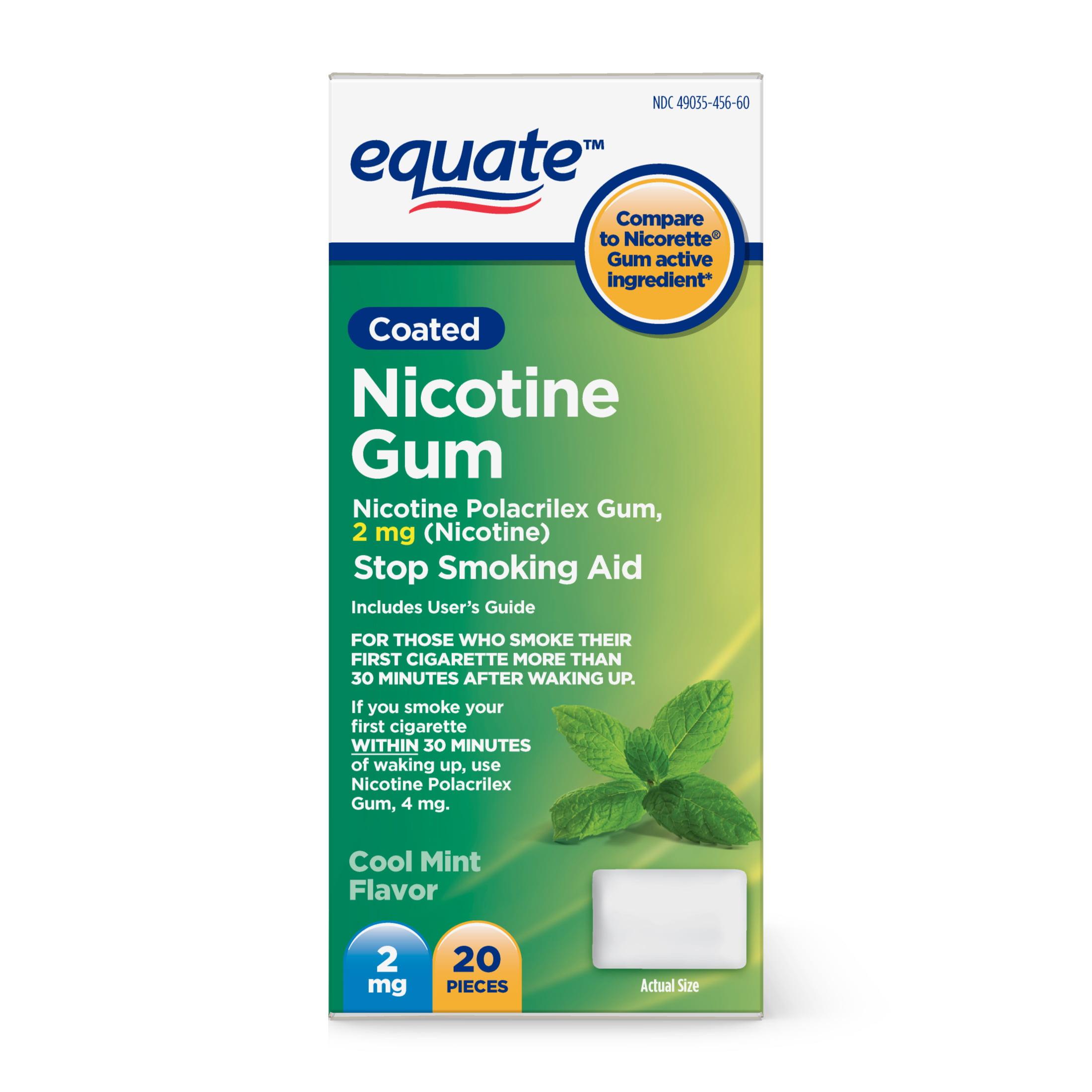 Equate Coated Nicotine Cool Mint Gum, 2 mg, 20 Ct