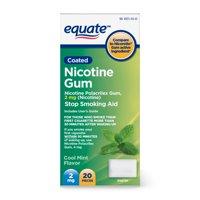 Equate Coated Nicotine Polacrilex Gum, 2 mg, Mint Flavor, 20ct