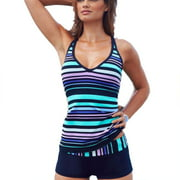 Plus Size Women Tankini Striped Padded Push Up Boxer Brief Swimsuit Swimwear Bikini Set Vest Top Beachwear Bra Swim Costume Bathing