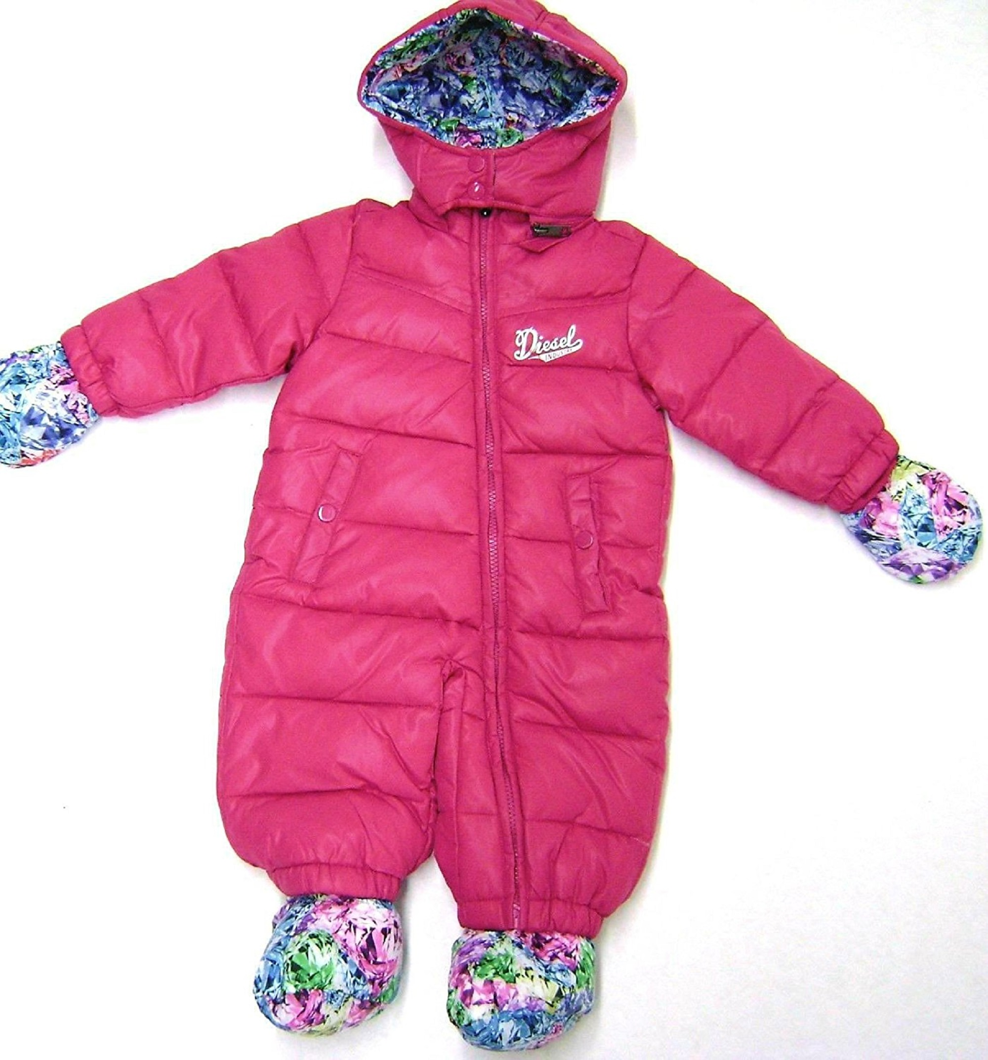 Diesel Baby Girls Insulated Hooded Pram Snowsuit with Detachable Hood, Mittens and Booties, (18 Month, Hot Pink)