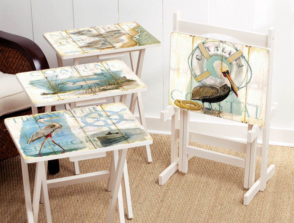 Shore Birds TV Tray Set With Stand