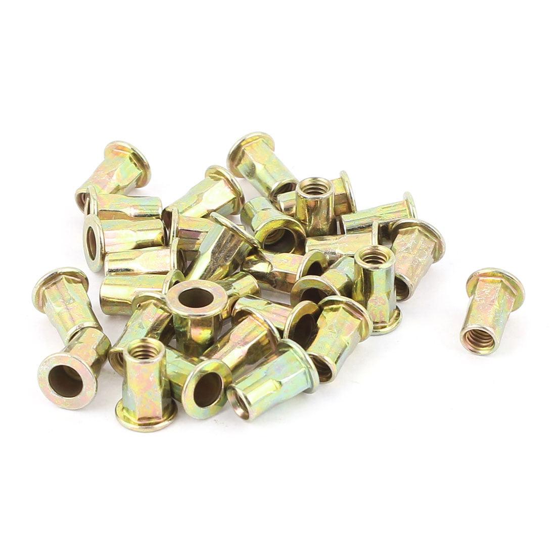 4mmx10.5mm Flat Head Metal Rivet Nut  Insert Nutsert Gold Tone 30Pcs