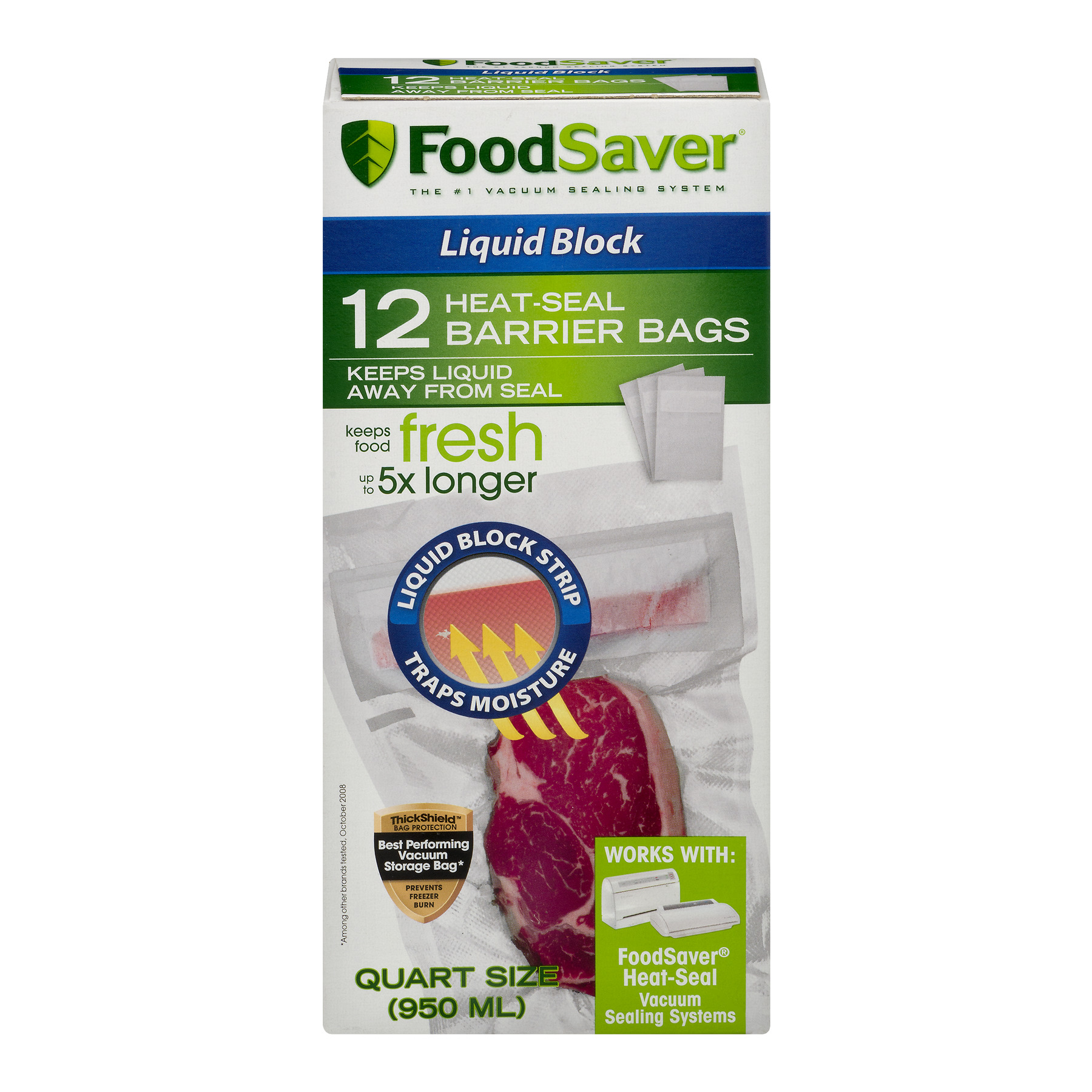 Click here to buy Food Saver Liquid Block Heat-Seal Barrier Bags Quart 12 CT by Jarden Home Brands.