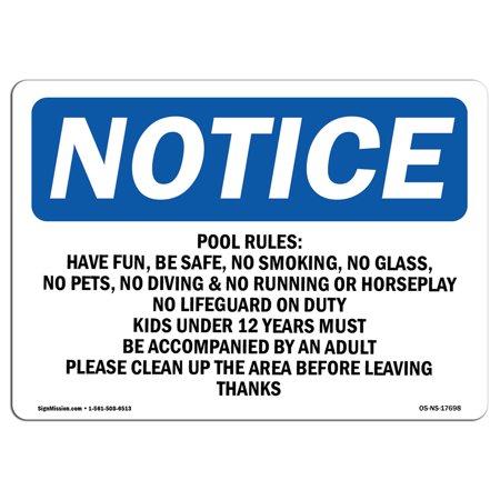 OSHA Notice - Pool Rules No Running, No Rough Play, No Sign | Heavy Duty Heavy Duty Rough