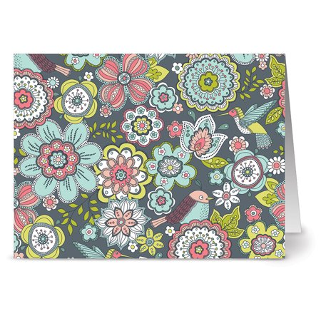 24 Note Cards - Blooms and Birds - Blank Cards - Gray Envelopes Included