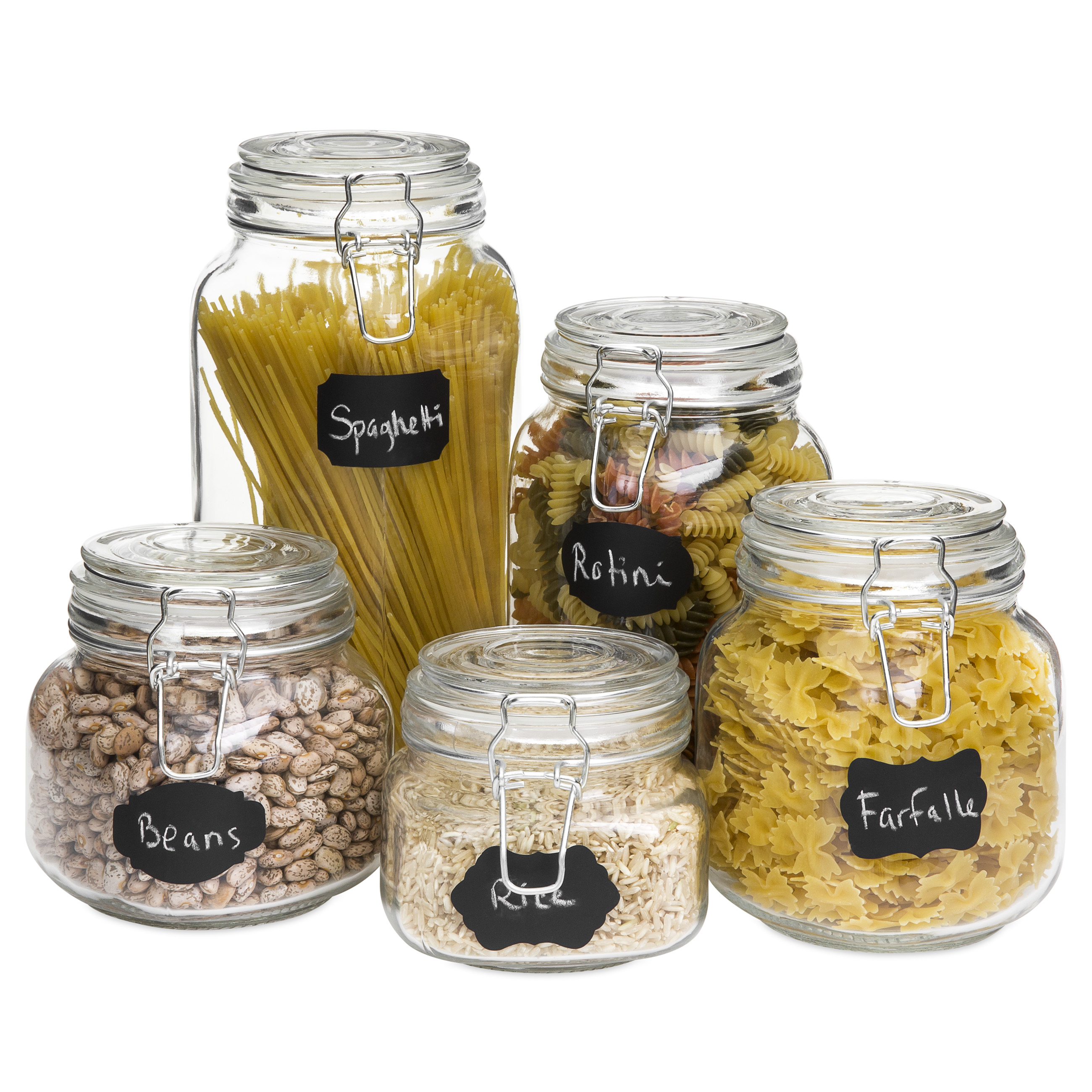 Best Choice Products Set of 5 Clip Top Glass Storage Mason Jars w/ 10 Reusable Stickers and Chalk for Labeling - Clear