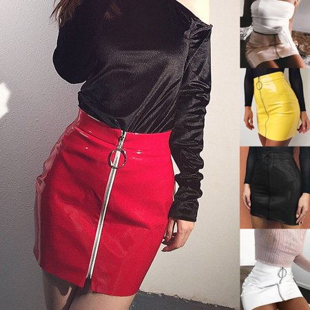 New Women PU Leather Mini Skirt High Waist Plain Flared Skirt Short Sexy Zipper Party Evening Fashion Ladies Femme Clothing