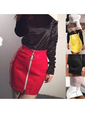 e63c21bfeb Product Image New Women PU Leather Mini Skirt High Waist Plain Flared Skirt  Short Sexy Zipper Party Evening