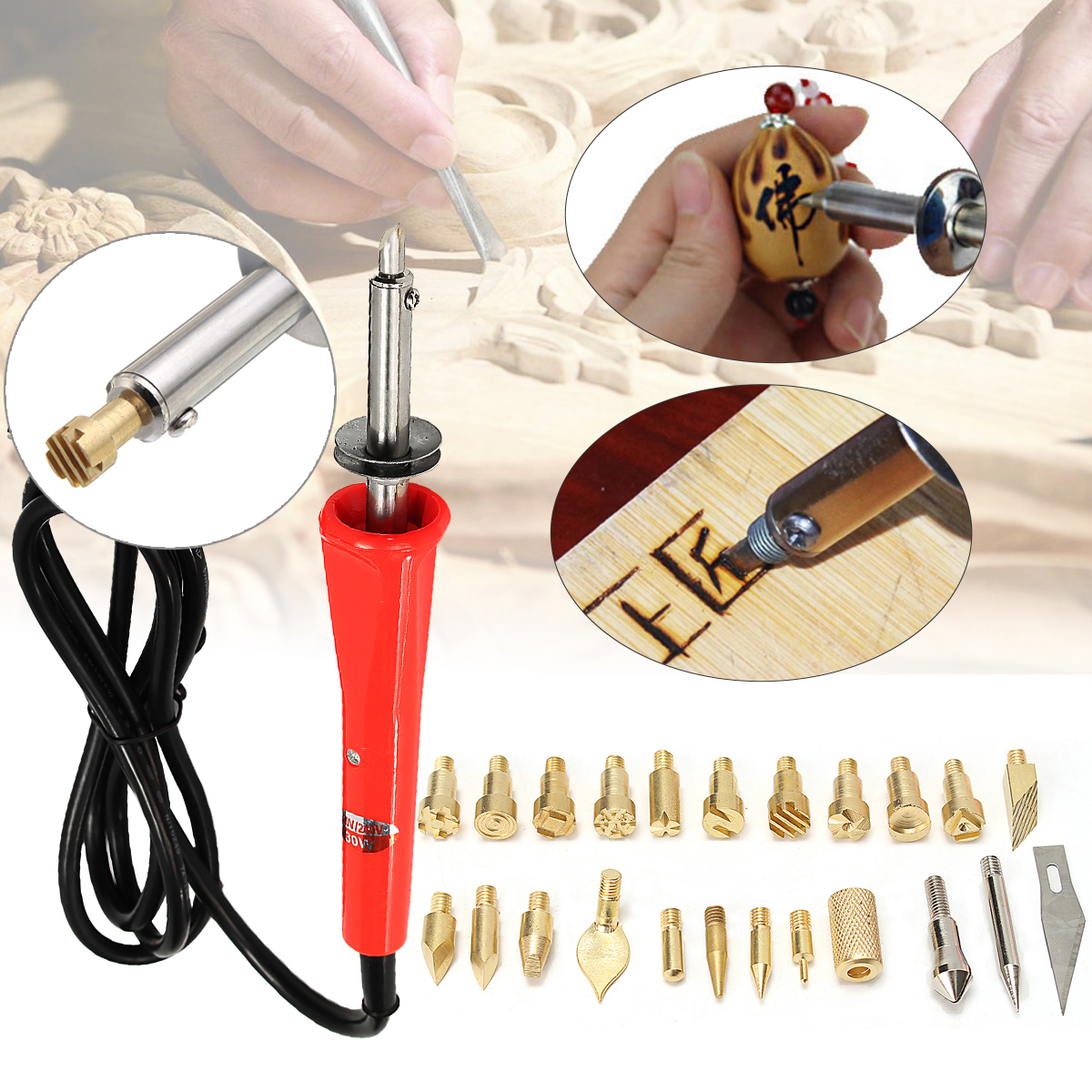 25 PCS 30W 220V/240V Wood Burning Iron Pen Set Kit Tips Soldering Gun Weldering Tools Pyrography Leather Crafts with Metal Stand for Variously Repaired Usage