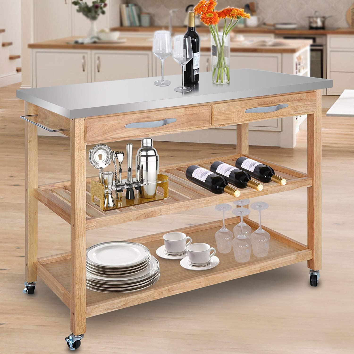 UBesGoo Rolling Kitchen Island Utility Kitchen Serving Cart w/Stainless Steel Countertop, Spacious Drawers Lockable Wheels, Natural