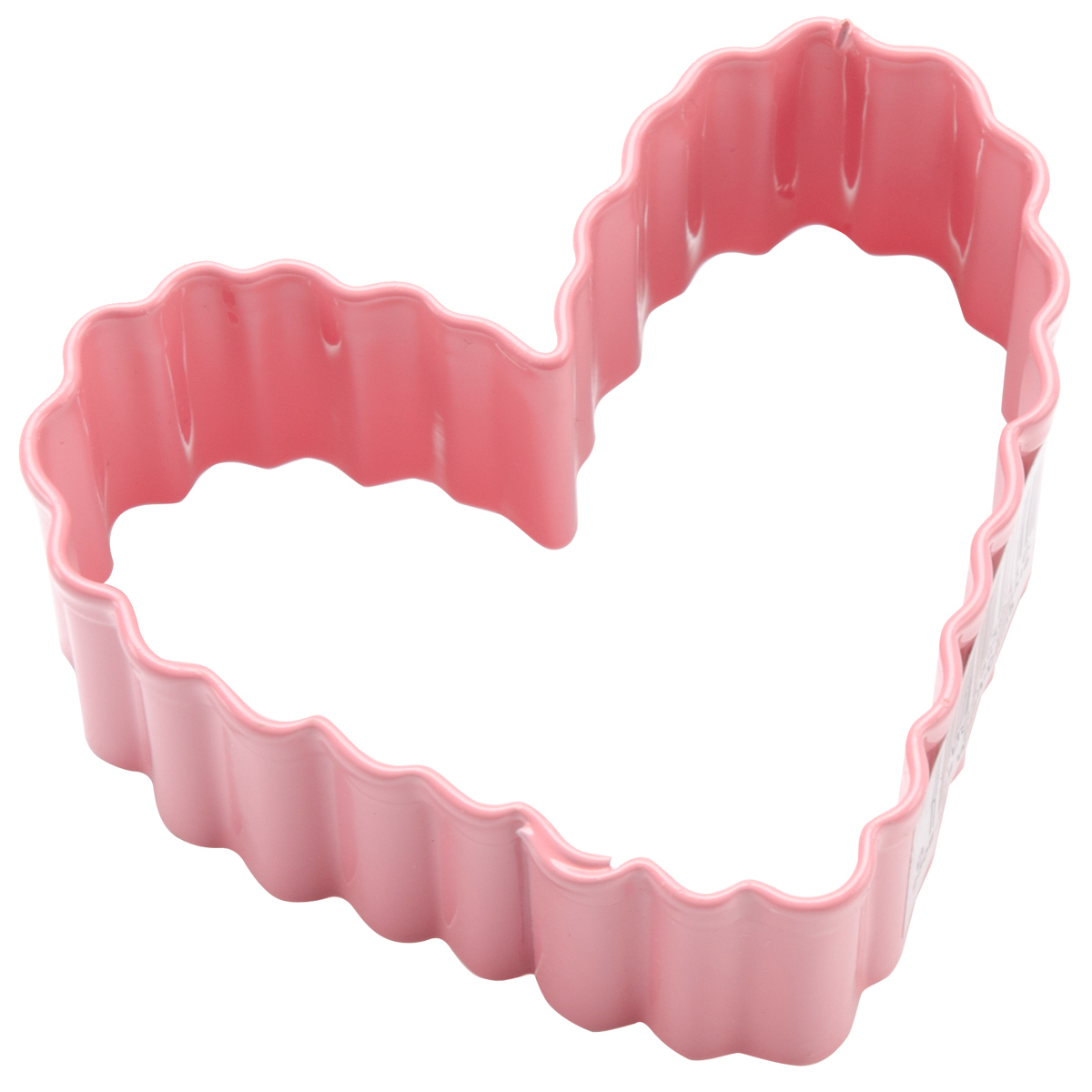 Metal Cookie Cutter 3 Inch-Pink/Small Crinkle Heart