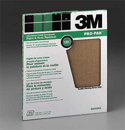 120-Grit 88607NA 3M Pro-Pak 99403-NA-CC Aluminum Oxide Sheets for Paint and Rust Removal 9-Inch by 11-Inch