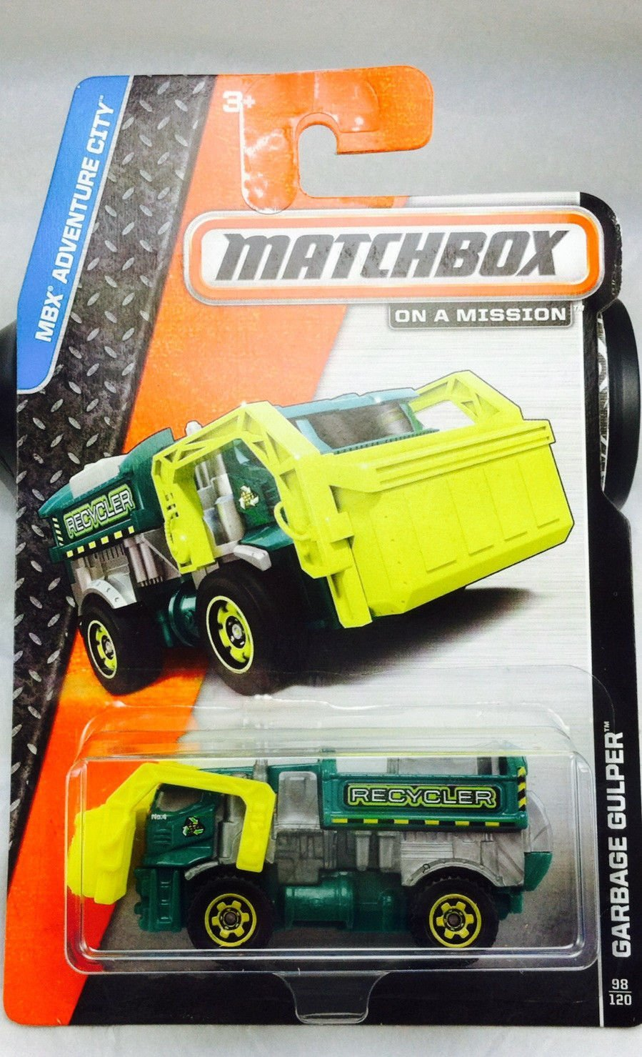 2014 MBX Adventure City Garbage Gulper (Garbage Truck) 98 120, Green and Yellow, match box... by
