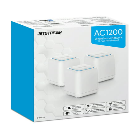Jetstream AC1200 Whole Home WiFi Mesh Routers 3-Pack, Up to 5,000 Square Feet, 802.11ac, (EMESH3200) - Walmart