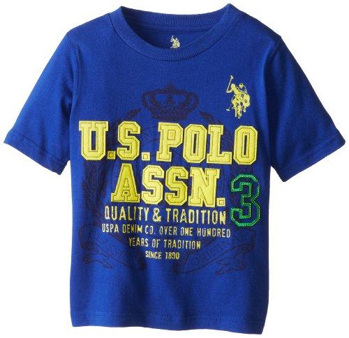 U.S. Polo Assn. Boys' Crew Neck Iconic Graphic Logo T-Shirt,Cobalt Blue,5/6