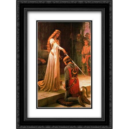 The Accolade 2x Matted 20x24 Black Ornate Framed Art Print by Edmund Blair Leighton