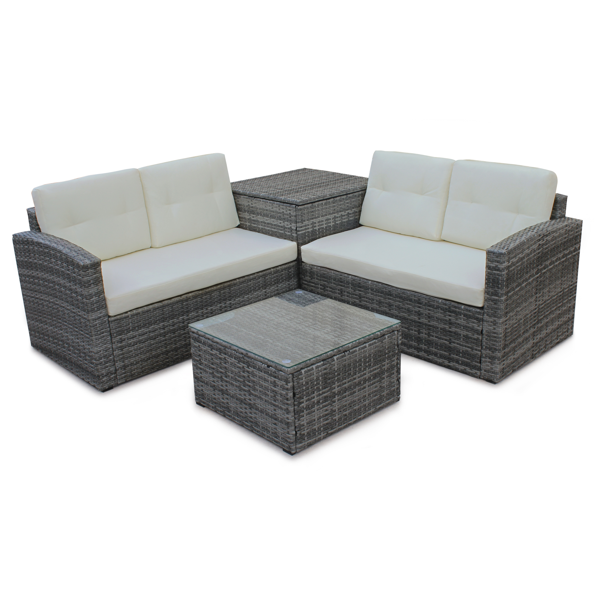 Patio Sofa With Storage: TKOOFN 4PCS Patio Rattan Wicker Furniture Set Sofa