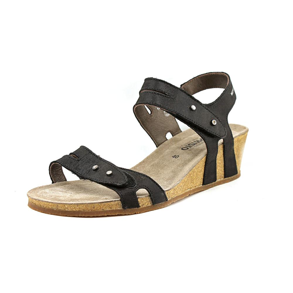Mephisto Minoa Women Open Toe Leather Black Wedge Sandal by Mephisto