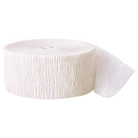 (4 Pack) White Crepe Paper Streamers, 81ft