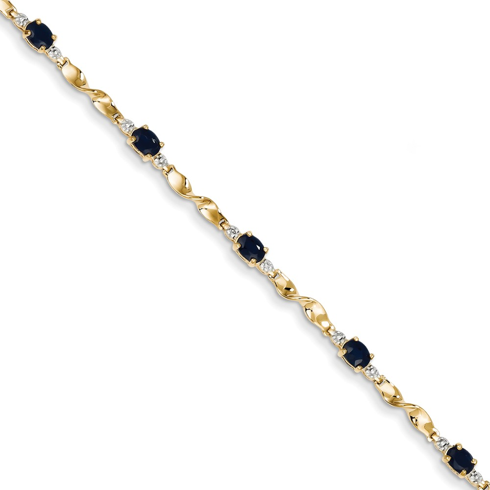 14K Yellow Gold Oval Cut Blue Sapphire and Diamond Bracelet by