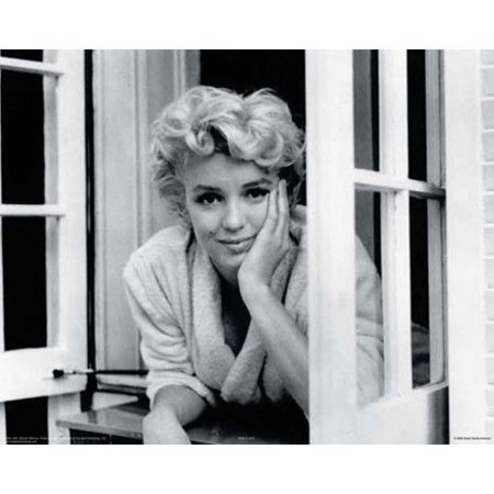 Marilyn Monroe Looking Out Window in White Robe Famous Poster Print 8x10,  16x20