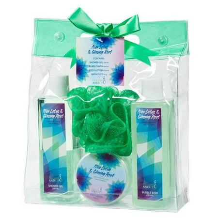 Nice Lotus & Ginseng Root Spa in a Bag Gift Set - green
