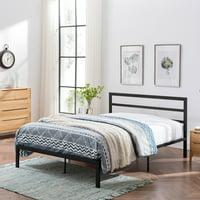 Jones Modern Iron Queen Bed Frame, Flat Black