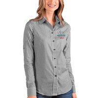 San Francisco 49ers Antigua Women's Super Bowl LIV Bound Structure Button-Up Long Sleeve Shirt - Black/White