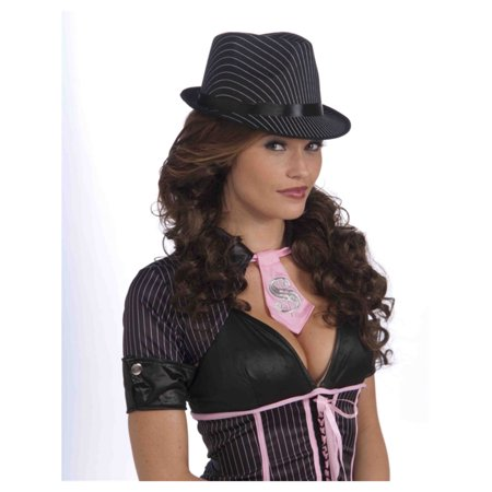 Ladies Black Pin Stripe Roaring 20s Gangster Fedora Hat (Black Ganster)