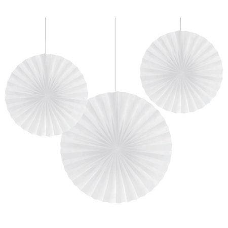 "Club Pack of 18 Traditional White Hanging Tissue Paper Fan Party Decorations 12"" & 16"""