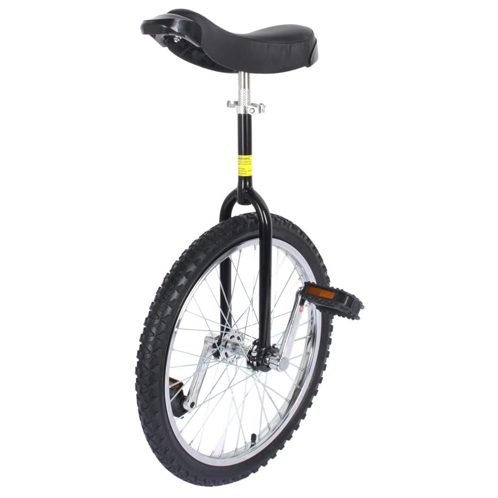 """20"""" Unicycle Chrome Wheel Unicycle For Youth Adult Black Cycling Outdoor Sports Fitness Exercise,Black"""