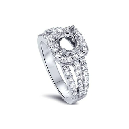 3/4ct Cushion Halo Diamond Engagement Ring Setting 14K White Gold