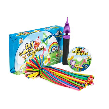 Learn & Climb Balloon Animal Kit, Complete Twisting & Modeling balloon Kit with 100 Balloons for balloon animals, Balloon Pump, and Dvd & More. Great for Boys, Girls & Adults