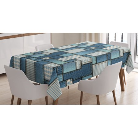 Fabric Tablecloth, Denim Motif Background with Several Cross Sewing Figures Simplistic Design, Rectangular Table Cover for Dining Room Kitchen, 52 X 70 Inches, Blue and Baby Blue, by Ambesonne
