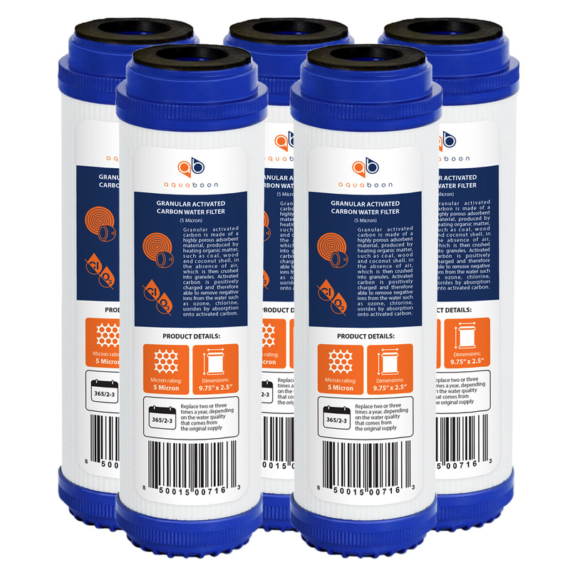 "5 Pack of Granular Activated Carbon 10"" x 2.5"" 5 Micron Water Filter Cartridges by Aquaboon"