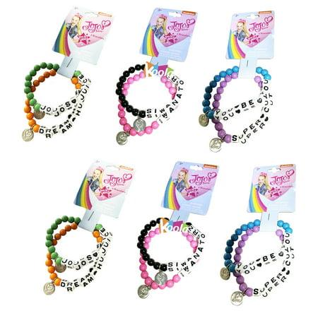 6 Sets Jojo Siwa BFF Beaded Word Bracelet on card Party Favor](Paper Wristbands)