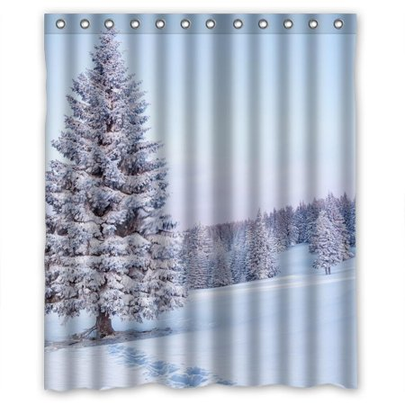 DEYOU Merry Christmas Shower Curtain Polyester Fabric Bathroom Size 60x72 Inch