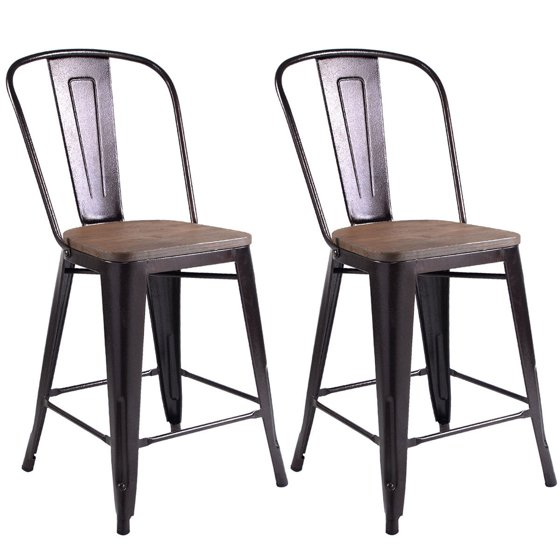 Costway Copper Set Of 4 Metal Wood Counter Stool Kitchen: Costway Copper Set Of 2 Metal Wood Counter Stool Kitchen