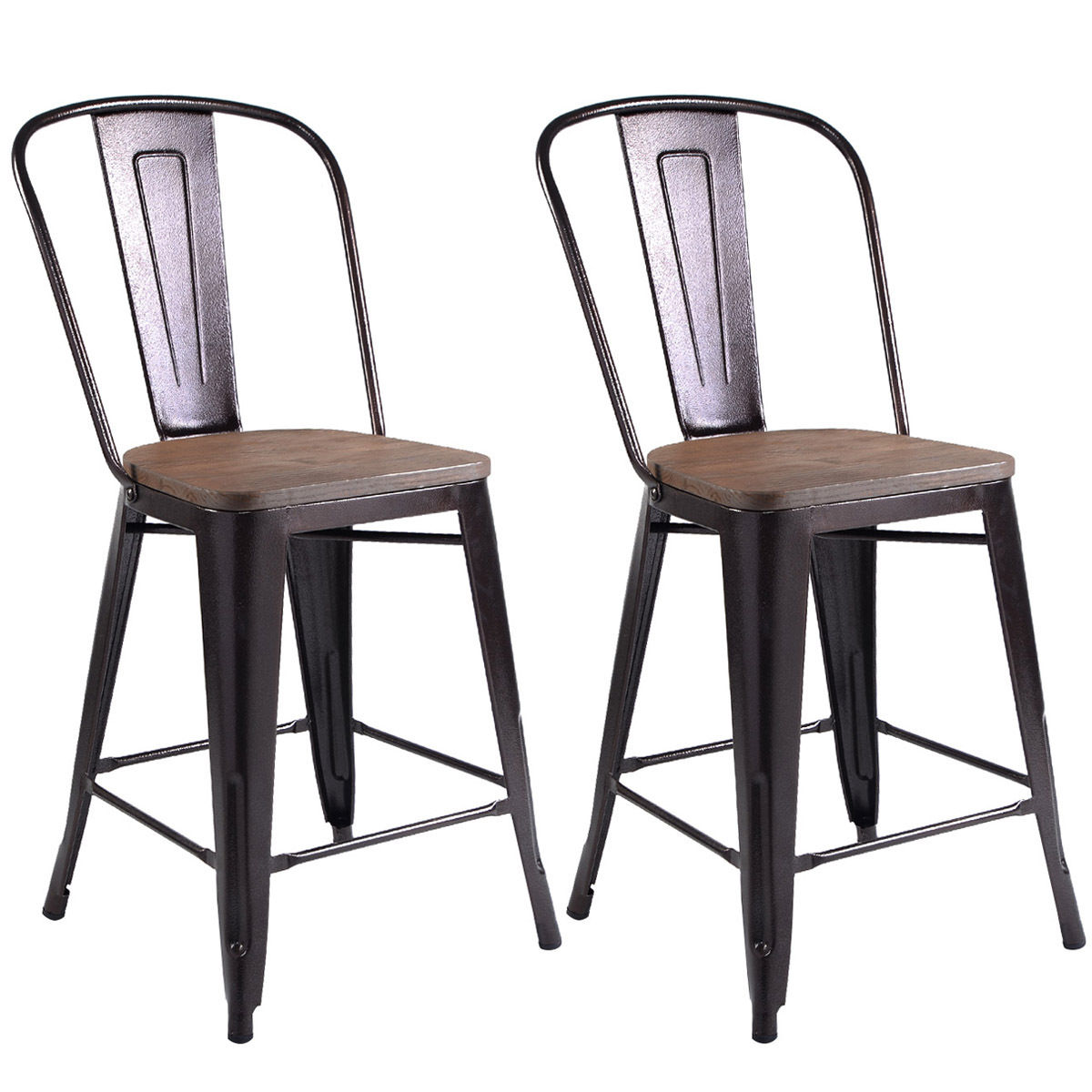 Costway Copper Set of 2 Metal Wood Counter Stool Kitchen Dining Bar Chairs Rustic