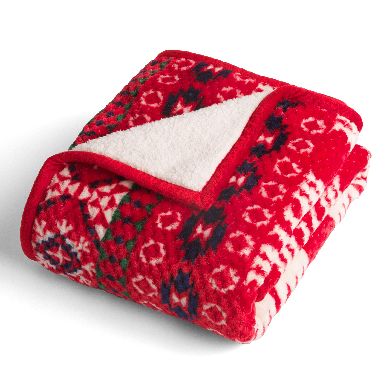 Better Homes & Gardens Velvet Plush to Sherpa Bear Fair Isle Throw Blanket, 1 Each