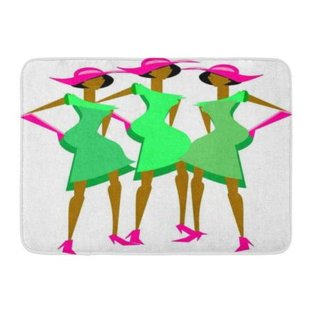 GODPOK Pink Sorority Black Alpha Three Sassy Ladies in Coordinating Dresses and Hats Green Church Brown Aka Rug Doormat Bath Mat 23.6x15.7 inch