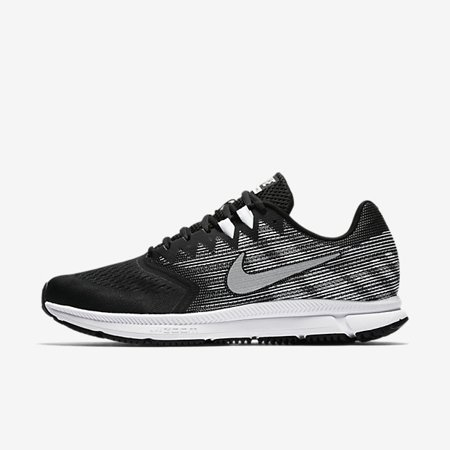 Nike ZOOM SPAN 2 Mens Black Silver Athletic Running Shoes
