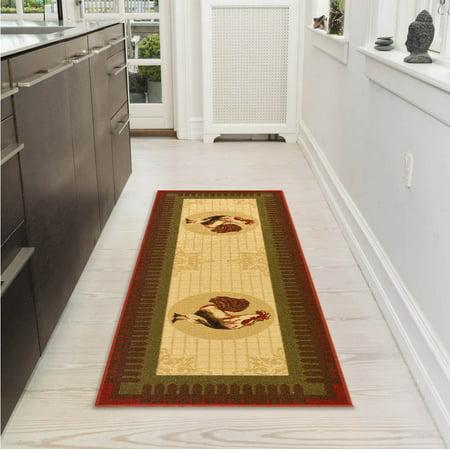 Ottomanson Siesta Collection Kitchen Rooster Design Non-Slip Runner Rug, Beige, 20