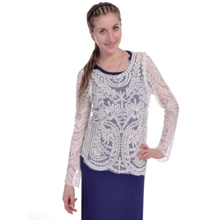 S/M Fit Beige Floral Leaves and Vines Embroidered Pattern Tunic Blouse (Floral Patterns Embroidery)
