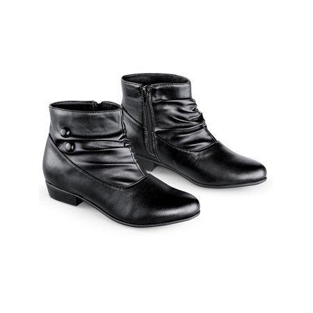 Collections Etc Women's Button Ankle Slouch Boots w/ Low Heel BLACK 11 (Womens Ankle Slouch Boots)