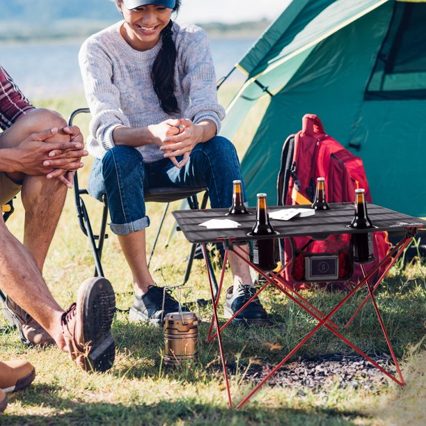 Camp Table-Outdoor Folding Table with 4 Cupholders and Carrying Bag by Wakeman Outdoors