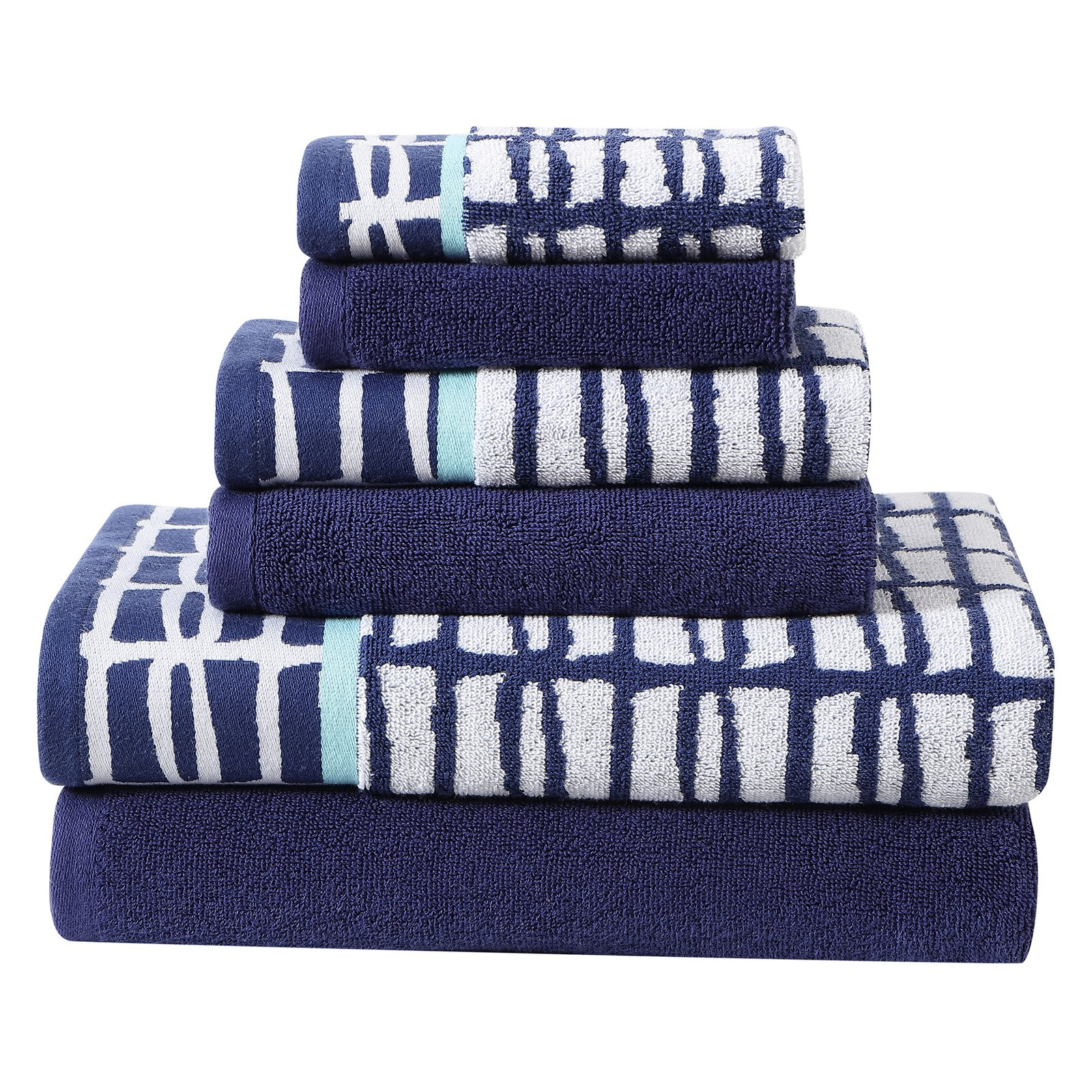 Clairebella Multi-Color Cubish 6-Piece Printed and Solid Towel Set by VCNY Home